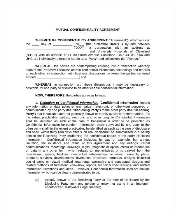 9+ Medical Confidentiality Agreements- DOC, PDF Free  Premium