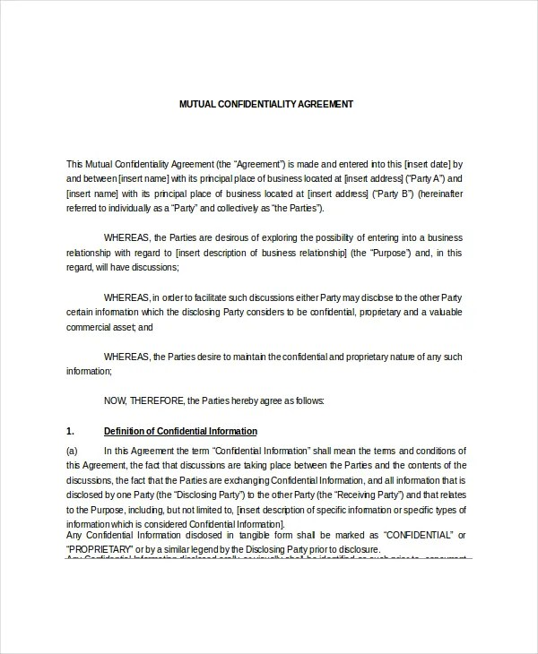 Mutual Confidentiality Agreement \u2013 5+ Free Word, PDF Documents