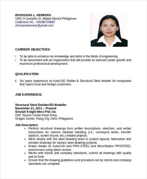 sample of resume letter in the philippines