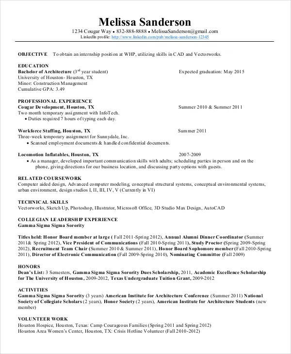 Scholarship Resume Templates Sample High School Resume For - leadership experience resume