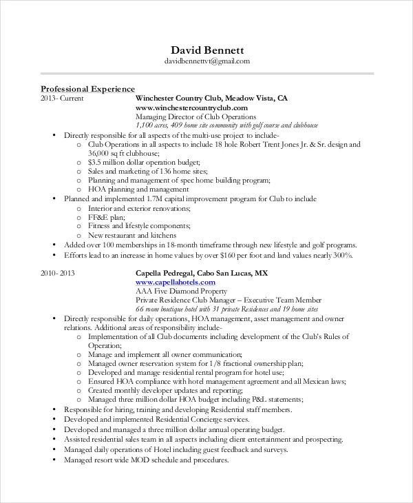 residential concierge resume example