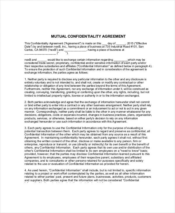 Volunteer Confidentiality Agreement \u2013 10+ Free Word, PDF Documents
