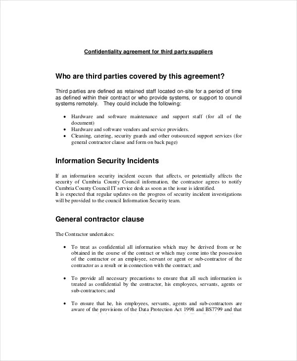 11+ Basic Confidentiality Agreement Templates \u2013 Free Sample, Example - confidentiality agreement free template