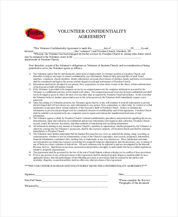 10+ Church Confidentiality Agreement Templates - DOC, PDF Free