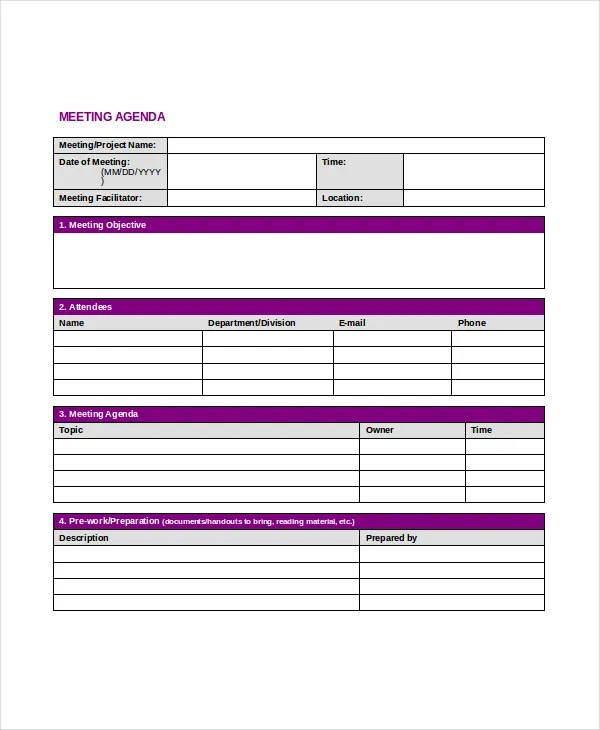 Professional Agenda Template - 5+ Free Word, PDF Documents Download - professional agenda templates