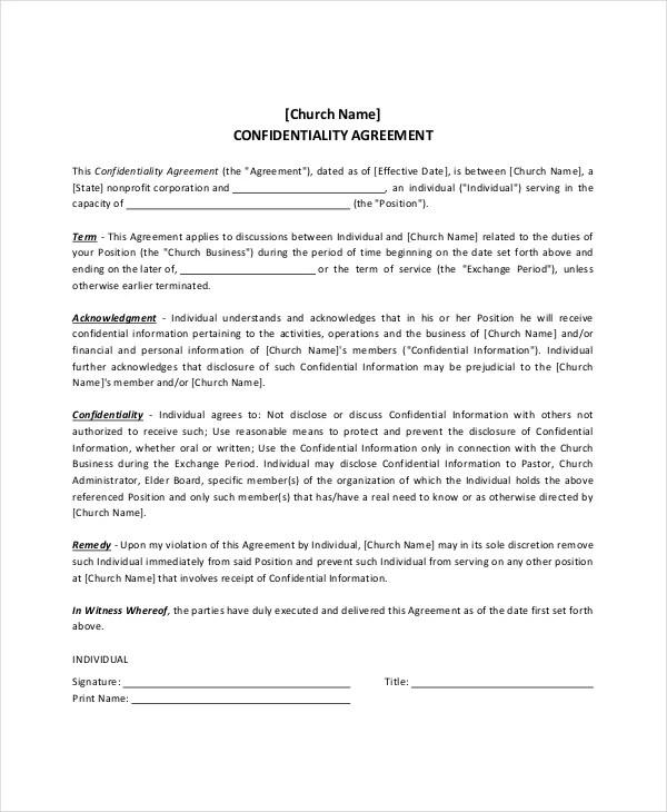 11+ Church Confidentiality Agreement Templates \u2013 Free Sample