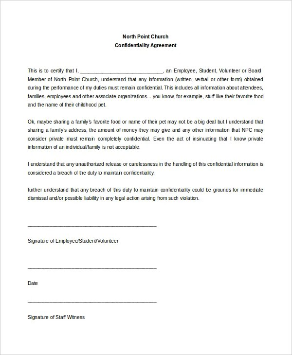 11+ Church Confidentiality Agreement Templates \u2013 Free Sample