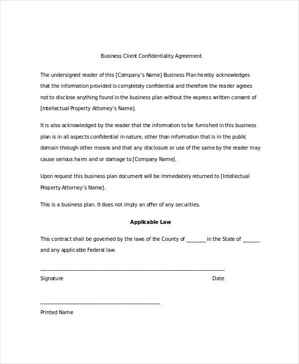Free Sample Confidentiality Agreement Template | Free Resumes For