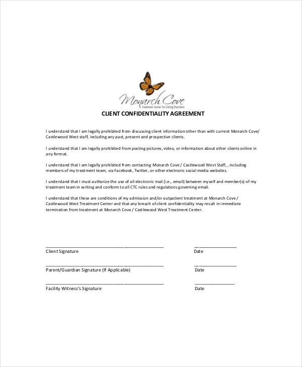 14+ Client Confidentiality Agreement Templates \u2013 Free Sample