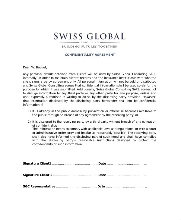 confidentiality agreement sample – Confidentiality Agreement Template