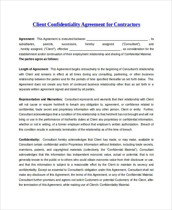 contractor confidentiality agreements efficiencyexperts - contractor confidentiality agreement