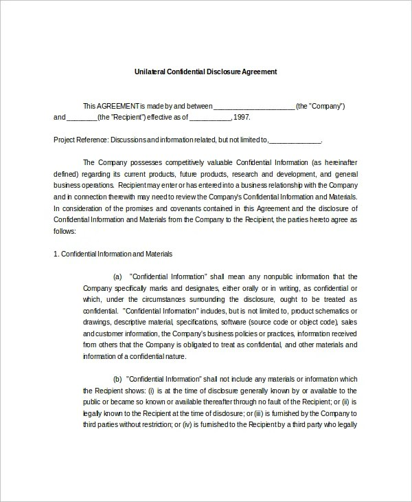 10+ Confidential Disclosure Agreement Templates \u2013 Free Sample