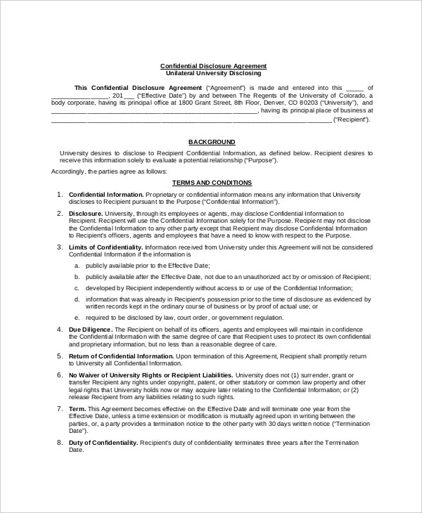 10+ Confidential Disclosure Agreement Templates - Word, PDF, Pages
