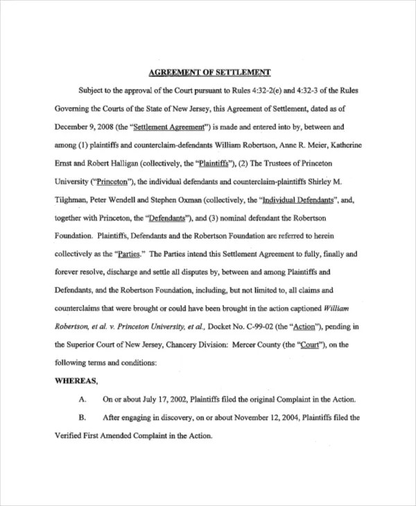 14+ Confidential Settlement Agreement Templates \u2013 Free Sample