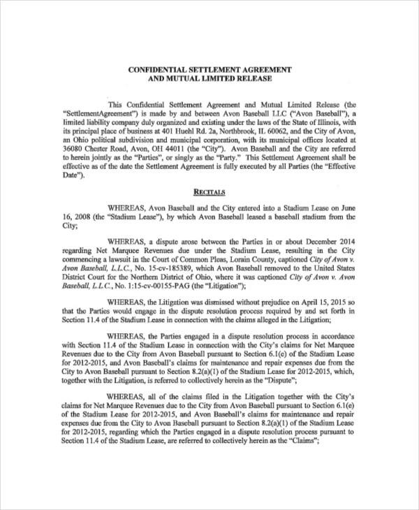 Sample Settlement Agreement Junk Fax 14 Confidential Settlement Agreement Templates – Free