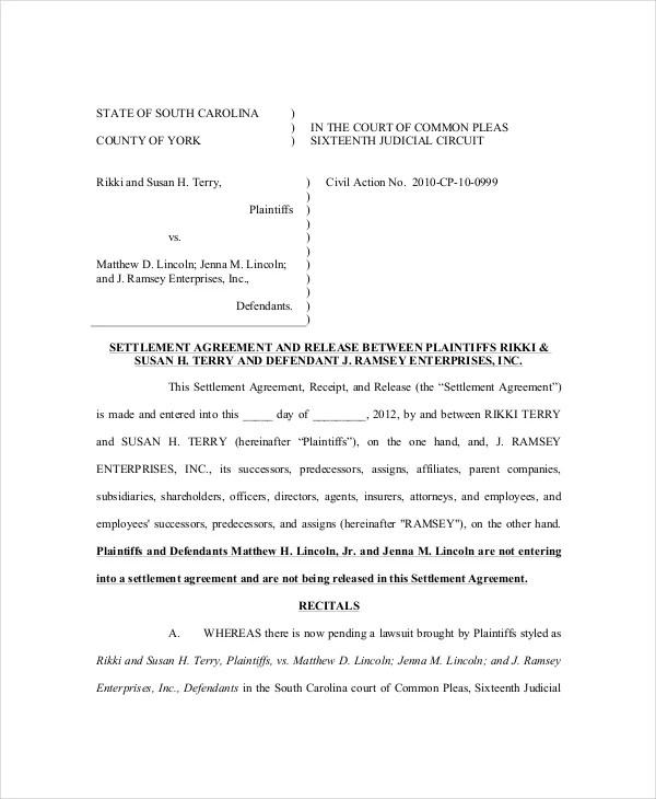 14+ Confidential Settlement Agreement Templates u2013 Free Sample - settlement agreement template