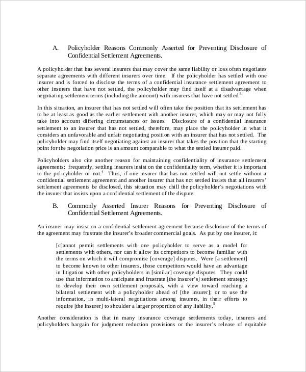 ... 14+ Confidential Settlement Agreement Templates U2013 Free Sample   Settlement  Agreement Template ...