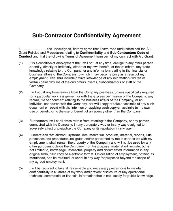 13+ Contractor Confidentiality Agreement Templates u2013 Free Sample - contractor confidentiality agreement