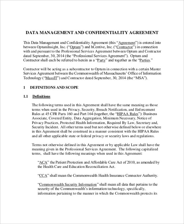 13+ Data Confidentiality Agreement Templates \u2013 Free Sample, Example