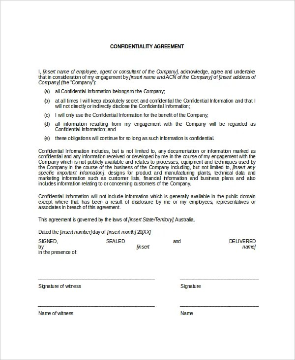 12+ Data Confidentiality Agreement Templates u2013 Free Sample - contractor confidentiality agreement