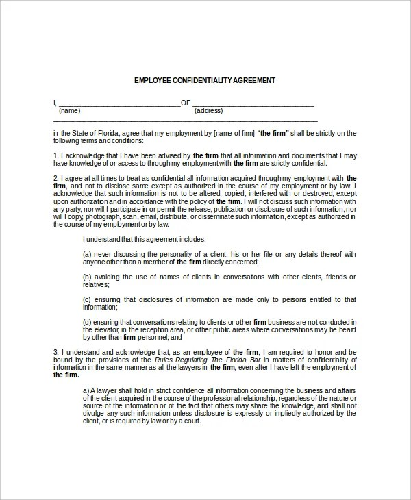 employee confidentiality agreement sample - Onwebioinnovate - confidentiality agreement free template