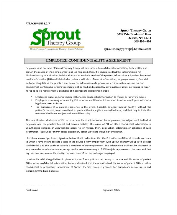 15+ Employee Confidentiality Agreement Templates \u2013 Free Sample - employee confidentiality agreement