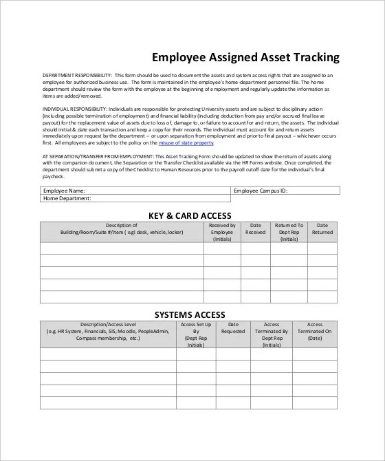 employee tracking forms - Minimfagency