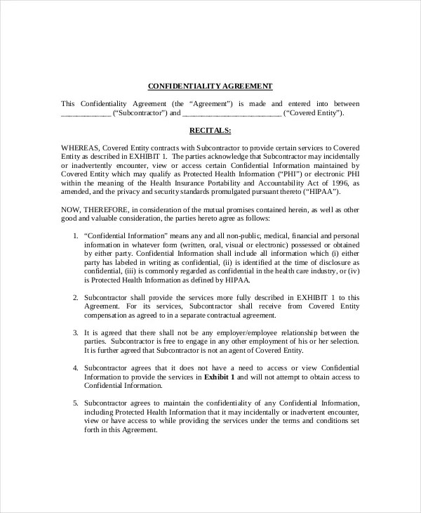 11+ Generic Confidentiality Agreement Templates \u2013 Free Sample - financial confidentiality agreements