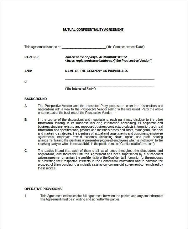 11+ Generic Confidentiality Agreement Templates \u2013 Free Sample