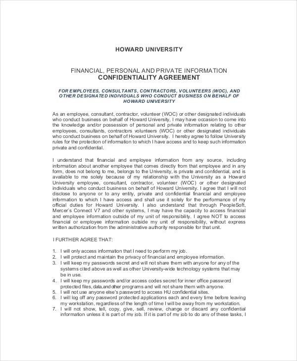 Sample Confidentiality Agreement For Human Resources Employees