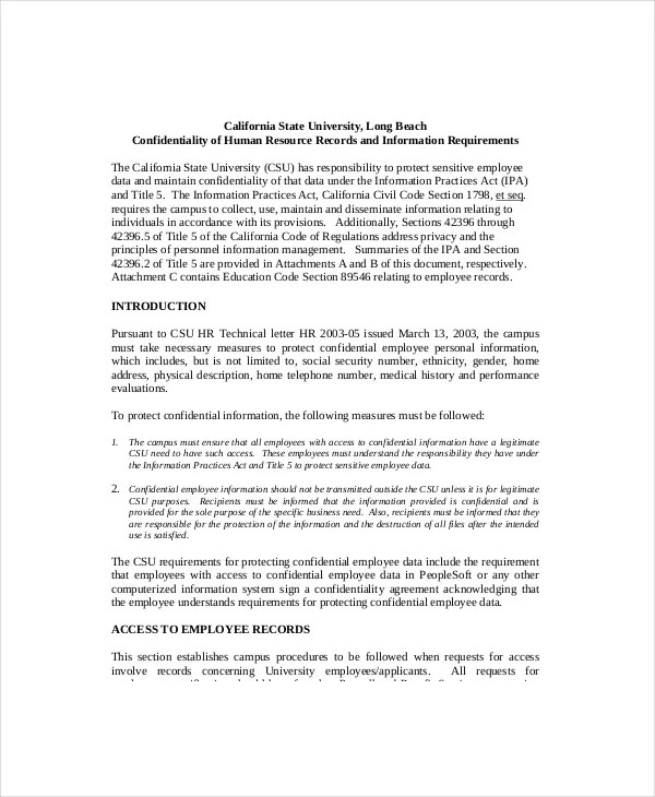 10+ Human Resources Confidentiality Agreement Templates \u2013 Free