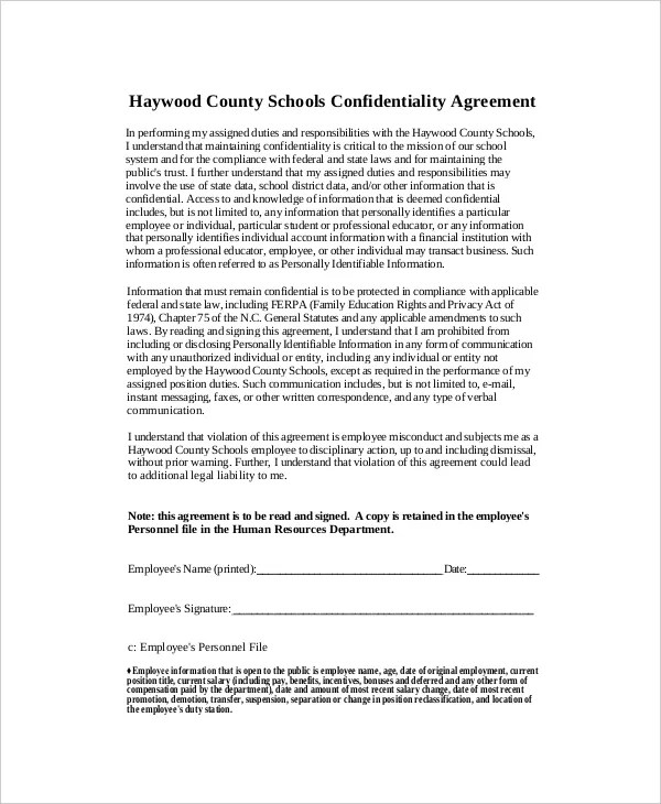 10+ Human Resources Confidentiality Agreement Templates \u2013 Free - employee confidentiality agreement