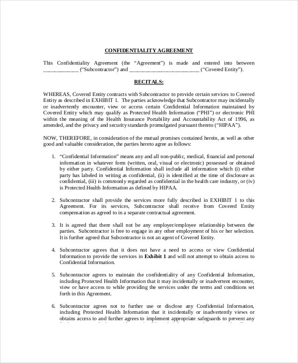 Confidentiality Agreement Form Image Result For What Is Non - contractor confidentiality agreement