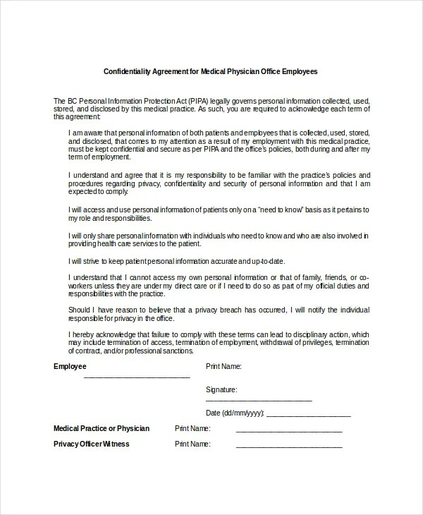 10+ Medical Confidentiality Agreement Templates \u2013 Free Sample - physician employment agreement