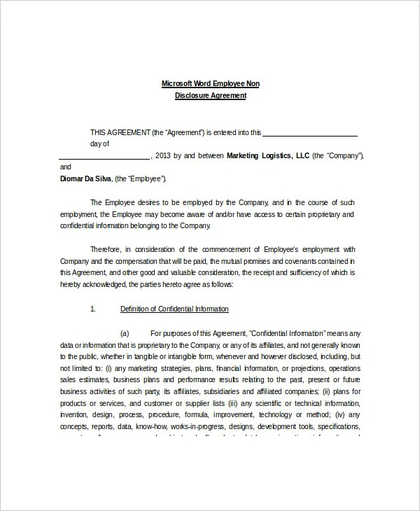 8+ Non Disclosure and Confidentiality Agreement Templates - DOC, PDF