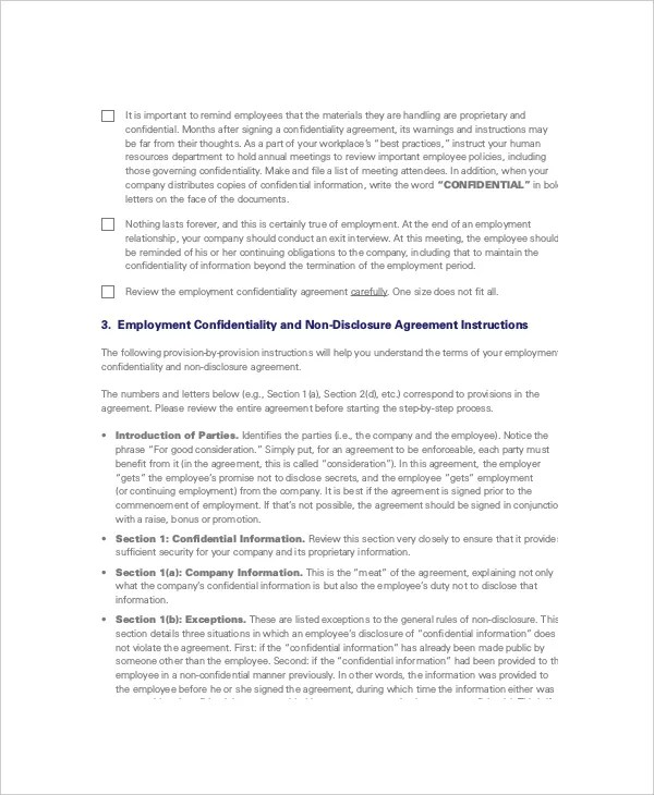 8+ Non Disclosure and Confidentiality Agreement Templates \u2013 Free - employee confidentiality agreement