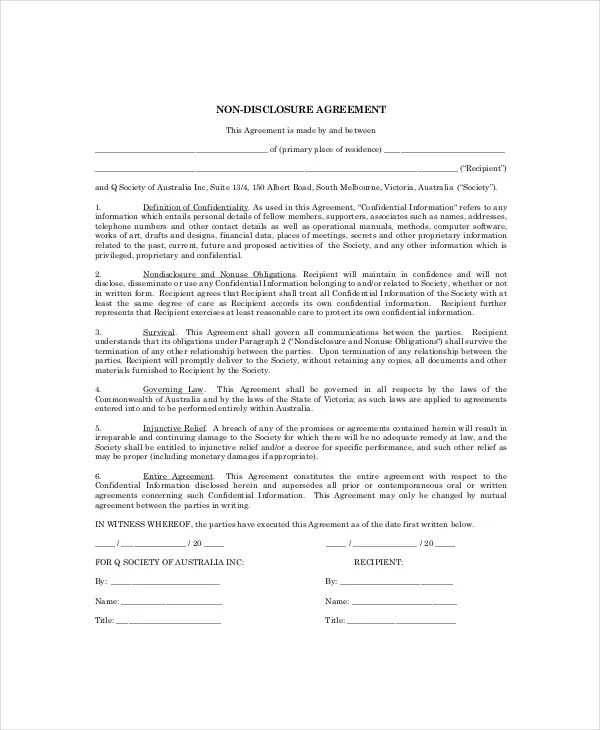 10+ Personal Confidentiality Agreement Templates \u2013 Free Sample