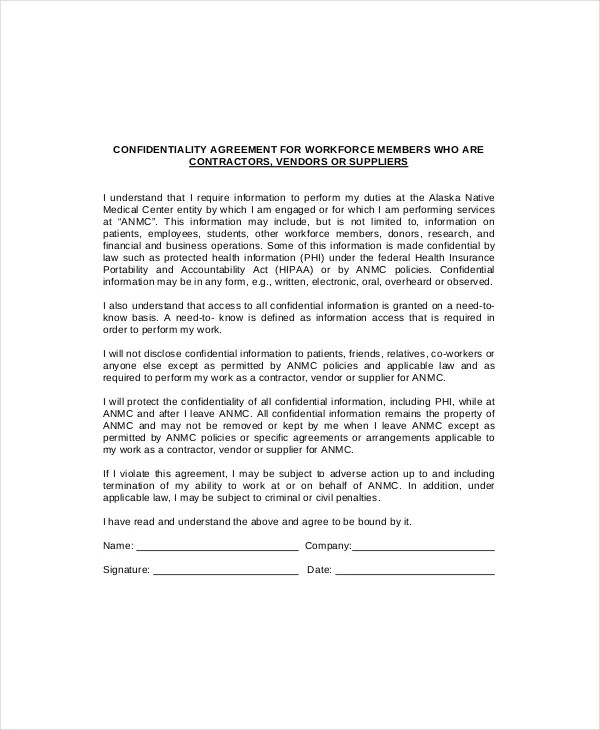 Non Disclosure Agreement Template Sale Of Business | Resume