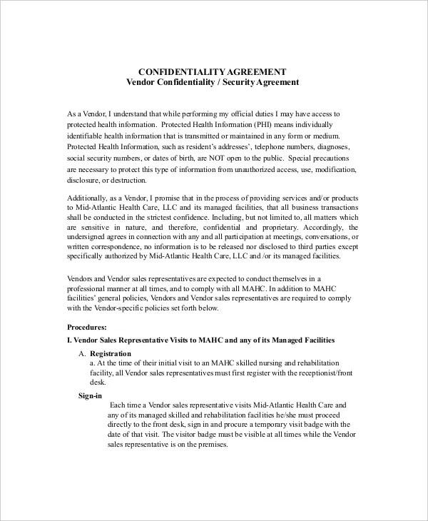 14+ Vendor Confidentiality Agreement Templates \u2013 Free Sample