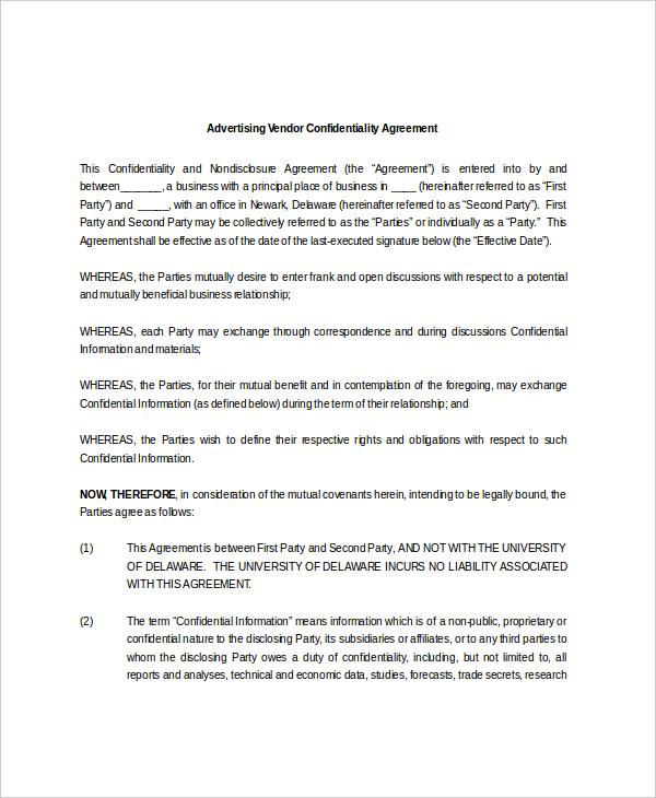 10+ Vendor Confidentiality Agreement Templates u2013 Free Sample - vendor confidentiality agreement
