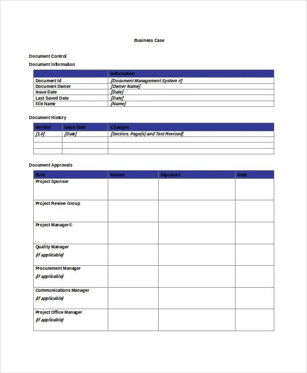 free case template - Onwebioinnovate - business case templates free