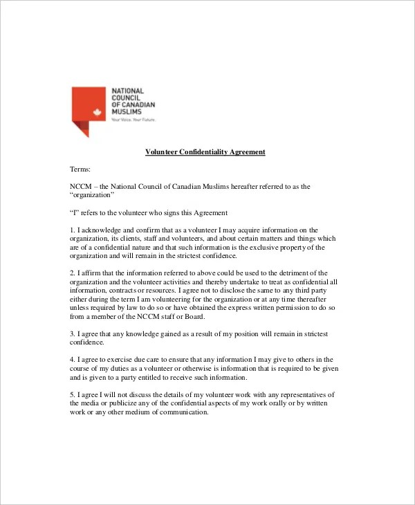12+ Volunteer Confidentiality Agreement Templates \u2013 Free Sample