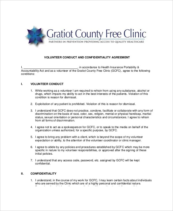 11+ Volunteer Confidentiality Agreement Templates - DOC, PDF Free - volunteer confidentiality agreement