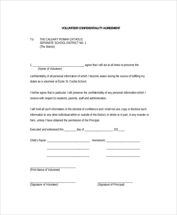11+ Volunteer Confidentiality Agreement Templates - DOC, PDF Free