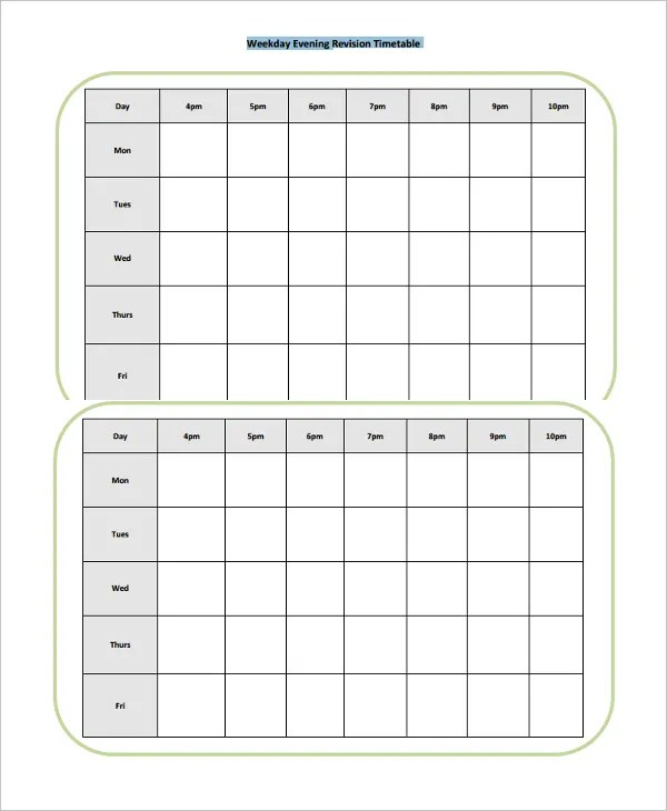 17+ Timetable Template - Free Sample, Example, Format Free