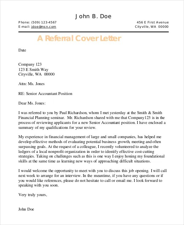 referral cover letter email