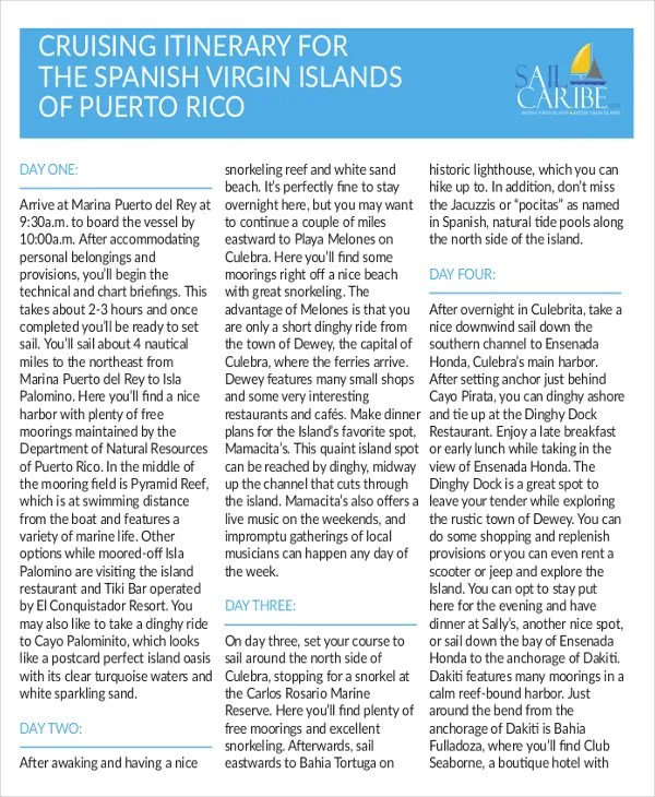 Cruise Itinerary Template | Itinerary Template Pdf Costumepartyrun