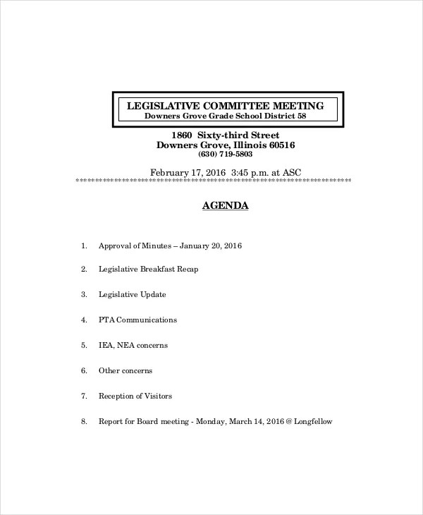 Board Meeting Agenda Template \u2013 10+ Free Word, PDF Documents