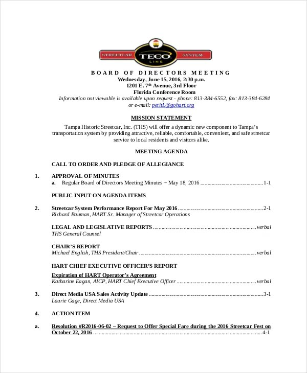 Board of Directors Meeting Agenda Template \u2013 8+ Free Word, PDF - board meeting agenda