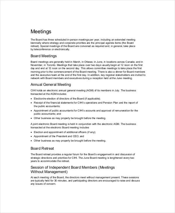 Board of Directors Meeting Agenda Template \u2013 8+ Free Word, PDF